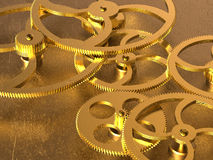 Golden gears background Stock Photography