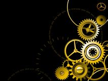 Golden gears background Stock Photo