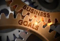 Golden Gears with Business Goals Concept. 3D Illustration. Business Goals Golden Cog Gears. Business Goals on Mechanism of Golden Cog Gears with Lens Flare. 3D Stock Photos
