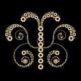 Golden gears design. Against black background Stock Photos