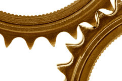 Golden gears detail Stock Images