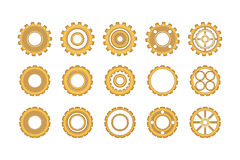 Golden Gears Icon Set Stock Photos
