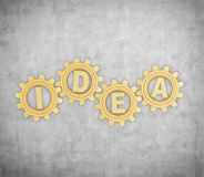 Golden gears with idea text Stock Images