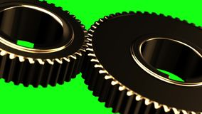 Golden gears loop rotate on green chromakey background