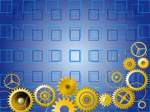 Golden gears over blue background Stock Photography