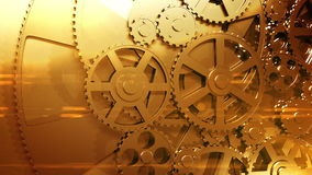 Golden Gears Rotating in Looped Animation. HD 1080