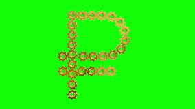 Golden gears - Russian ruble sign, 4K. Seamless loop, green screen. Computer-animated video clip in 4K resolution vector illustration