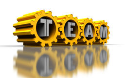 Golden gears. With silver team text, idea concept Stock Photography