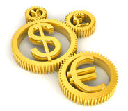 Golden gears. With symbols of euro, dollar, pound and yuan Stock Photography