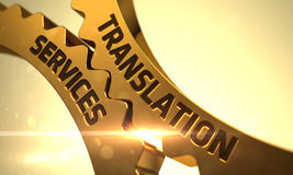 Golden Gears with Translation Services Concept. 3D. royalty free stock images