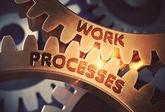 Golden Gears with Work Processes Concept. 3D Illustration. Stock Image