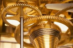 Golden Gearwheels Royalty Free Stock Images