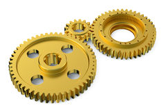 Golden gearwheels Stock Image