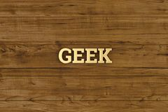 Golden geek logo on wood board 3D illustration. Golden geek logo on wood board 3D illustration stock illustration