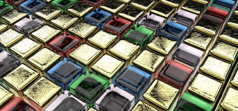 Golden and gem cubes Stock Images