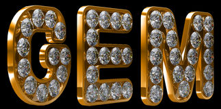 Golden Gem word incrusted with diamonds Stock Photography