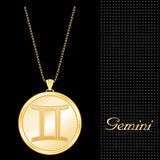 Golden Gemini Pendant Necklace  Stock Photos