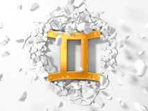 Golden gemini symbol hitting to wall and flying pieces around. Royalty Free Stock Image