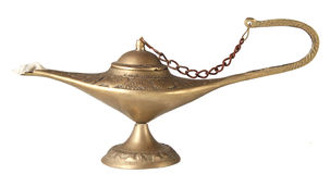Golden genie lamp isolated on white Royalty Free Stock Image