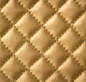 Golden Genuine Leather Texture. Beautiful Golden Genuine Leather Upholstery Texture Royalty Free Stock Image
