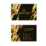 Golden geometric golden and black business card. Business card, golden and black geometric card royalty free illustration