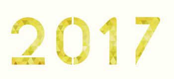 2017 golden geometric numbers. Golden geometric numbers, golden metal shapes Royalty Free Stock Photos