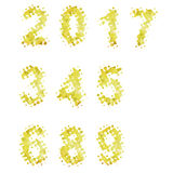 2017 golden geometric numbers. Golden geometric numbers, golden metal shapes Stock Image