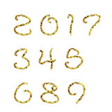 2017 golden geometric numbers. Golden geometric numbers, golden metal shapes Royalty Free Stock Photo