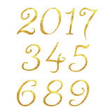 Golden geometric numbers. 2017 new year numbers design Stock Photo