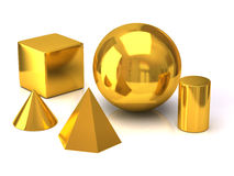 Golden geometric objects Stock Image