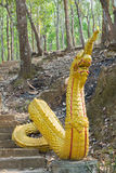 Golden giant snake, Naka, south east asian Dragon on a temple st Stock Photo