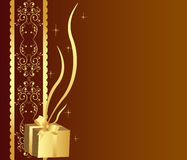Golden gift background Stock Images