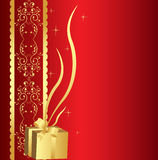 Golden gift background Stock Photo