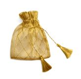 Golden gift bag. Golden mesh gift bag with tassels, isolated on white Royalty Free Stock Photography