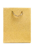 Golden gift bag isolated Stock Photos