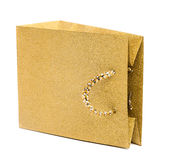 golden gift bag isolated on white Royalty Free Stock Photos
