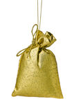 Golden Gift bag tree decoration isolated on white Royalty Free Stock Photo