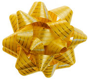 Golden Gift Bow. On white background royalty free stock photo