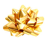 Golden gift bow on pure white - clipping path Stock Image