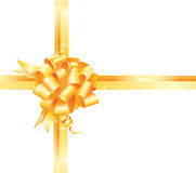 Golden gift bow and ribbon Royalty Free Stock Images