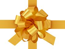 Golden gift bow with ribbon. Royalty Free Stock Photography