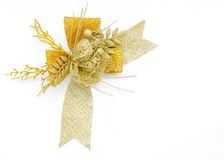 Golden gift bow Ribbon Isolated on white Stock Images