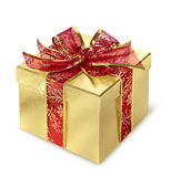 Golden gift box. Golden present surprise box with red wrap and bow stock image