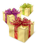 Golden gift box. Golden present surprise box with red wrap and bow stock photography