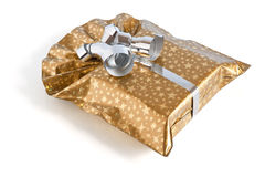 Golden gift box Stock Images