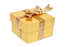 Golden gift box Stock Photos