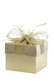Golden gift box Stock Photos