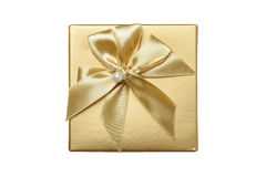 Golden gift box. A golden gift box on a white background Stock Images