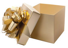 Golden gift box Royalty Free Stock Photo