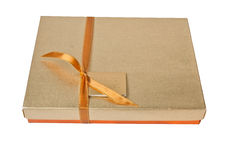 Golden gift box Stock Photo